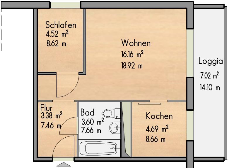 Grundriss 1 Zimmer Wohnung