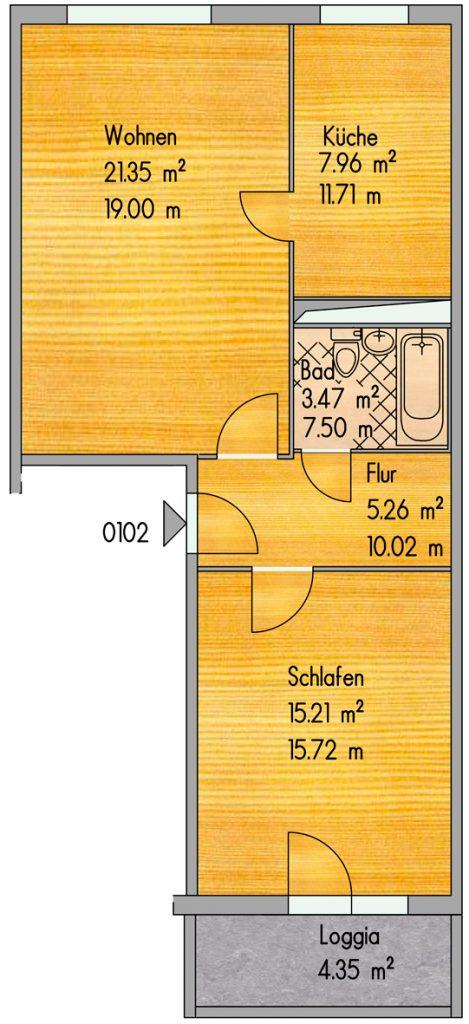Grundriss 2 Zimmer Wohnung