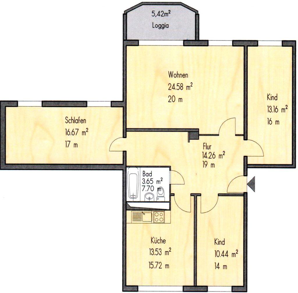 Grundriss 4 Zimmer Wohnung