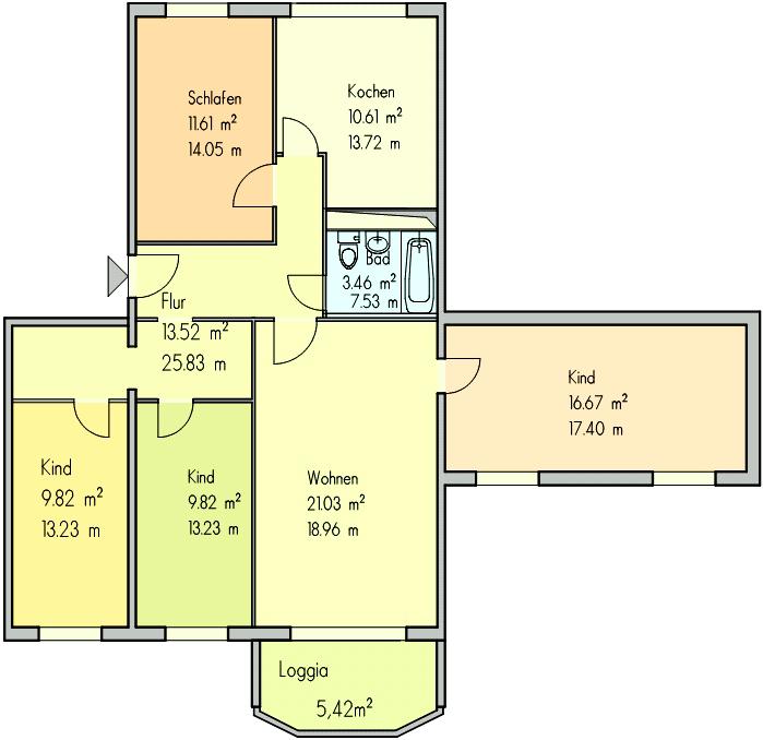 Grundriss 5 Zimmer Wohnung